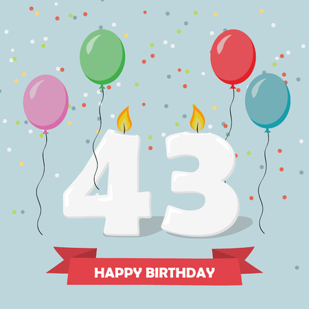 43 years selebration. Happy Birthday greeting card with candles, confetti and balloons. Ilustrace