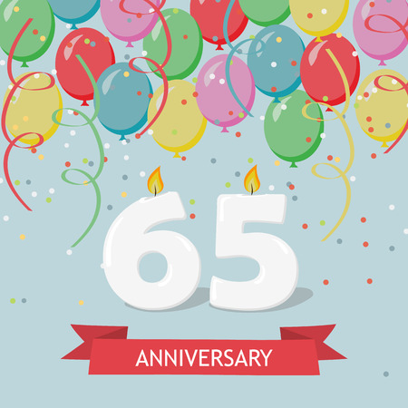 65 years selebration. Happy Birthday greeting card with candles, confetti and balloons. Ilustrace