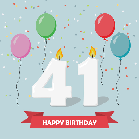 41 years selebration. Happy Birthday greeting card with candles, confetti and balloons. Ilustrace
