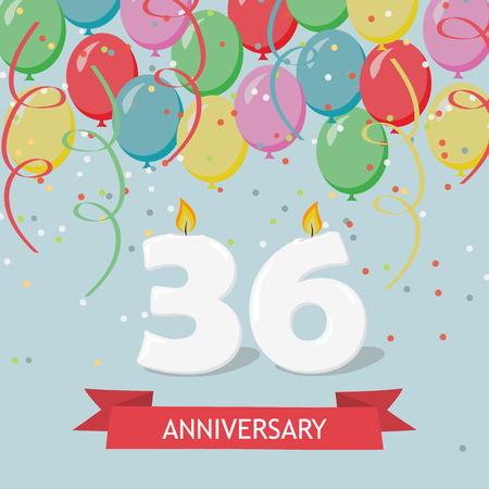 36 years anniversary greeting card with candles, confetti and balloons. Ilustrace