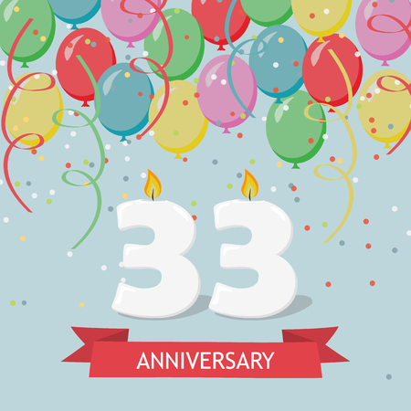 33 years anniversary greeting card with candles, confetti and balloons. Ilustrace