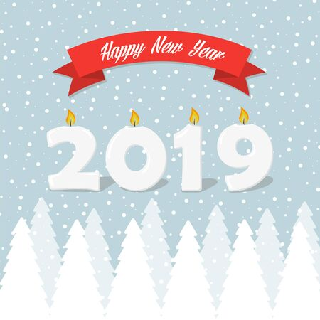 2019 Happy New Year greeting card with snowy winter trees and snowflakes
