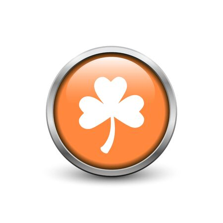 Orange button with white three leaf clover, metal frame and shadow. St. Patricks Day symbol. Ilustrace