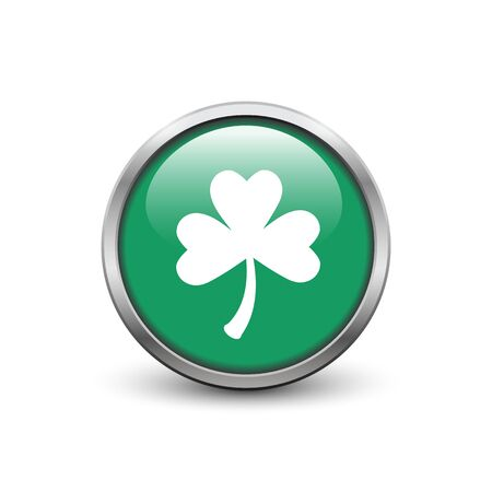 Green button with white three leaf clover, metal frame and shadow. St. Patricks Day symbol.