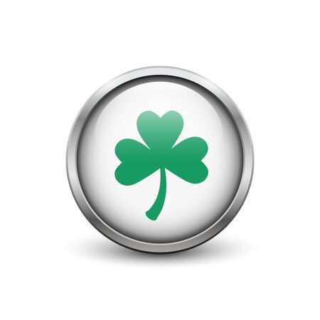 White button with green three leaf clover, metal frame and shadow. St. Patricks Day symbol. Ilustrace