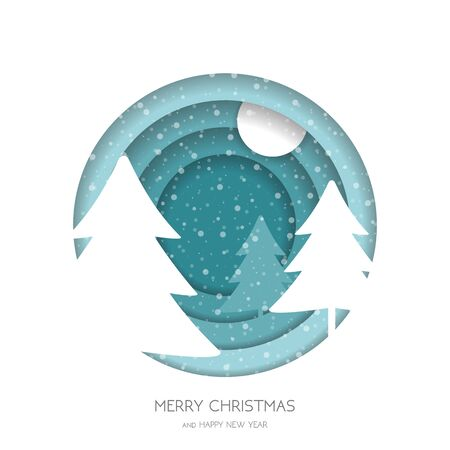 Marry Christmas greeting card.Christmas forest with snowflakes and Christmas tree. Paper cut style .greeting .