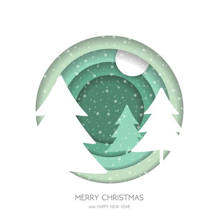 Marry Christmas greeting card.Christmas forest with snowflakes and Christmas tree. Paper cut style .greeting