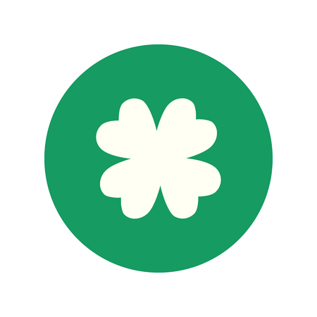 Clover four leaf symbol. Green leaf. Symbol of St. Patrick's Day. Green clover leaf flat icon.