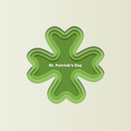 Four leaf paper cut clover. Green leaf icon. Symbol of St. Patricks Day. Ilustrace