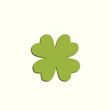 Clover four leaf symbol. Green leaf. Symbol of St. Patrick's Day. Green clover leaf with flat shadow.