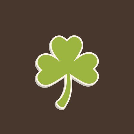 Clover leaf symbol. Green leaf. Symbol of St. Patricks Day. Green clover leaf with shadow on baun background.