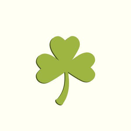 Clover leaf symbol. Green leaf. Symbol of St. Patricks Day. Green clover leaf with flat shadow.