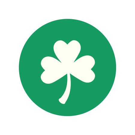 Clover three leaf symbol. Green leaf. Symbol of St. Patricks Day. Green clover leaf flat icon. Ilustrace