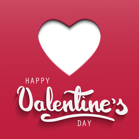 Happy Valentines Day greeting card with paper cut heart and hand lettering