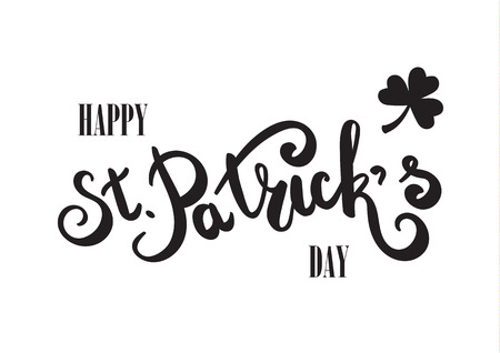 Happy St. Patricks Day hand lettering. Hand drawing typography. Flat design. Black letters on white background. Ilustrace
