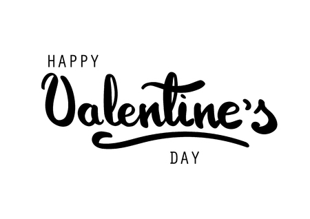 Happy Valentines Day greeting card. Happy Valentines hand brush lettering. Black letters on white background.