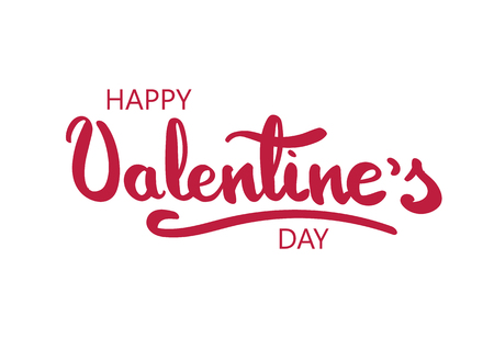 Happy Valentines Day greeting card. Happy Valentines hand lettering. Red letters on white background.