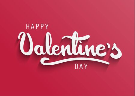 Happy Valentines Day greeting card. Happy Valentines hand lettering. White letters on light red background.