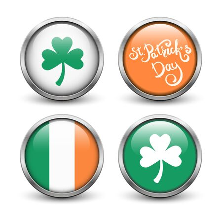 Set of buttons with symbols of St. Patricks Day. Buttons with three leaf clover, flag of Ireland and hand lettering. Buttons with metal frame and shadow.