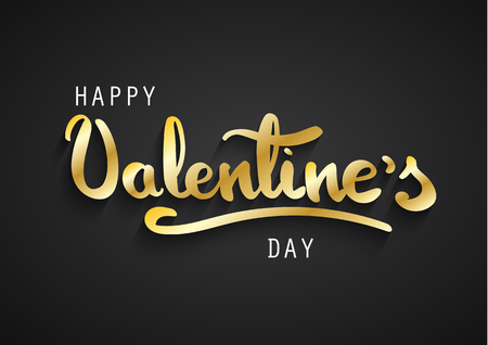Happy Valentines Day greeting card. Happy Valentines hand lettering. Gold letters on black background.