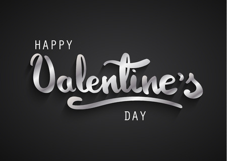 Happy Valentines Day greeting card. Happy Valentines hand lettering. Silver letters on black background.