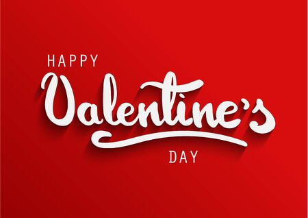 Happy Valentines Day greeting card. Happy Valentines hand brush lettering with shadow Ilustrace