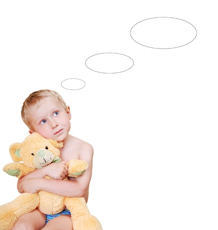 pretty little boy with teddy bear toy and dreams ovals on white background Stock Photo - 9903847