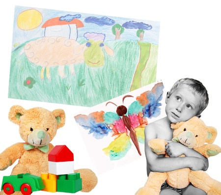 black and white image of a boy with colorfull toys and drawings Stock Photo - 9903855