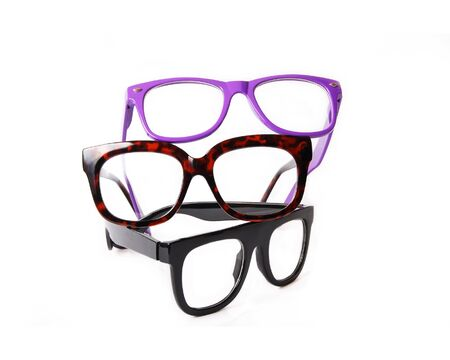 protecting spectacles: Three pairs colorful eyeglasses isolated on white background Stock Photo