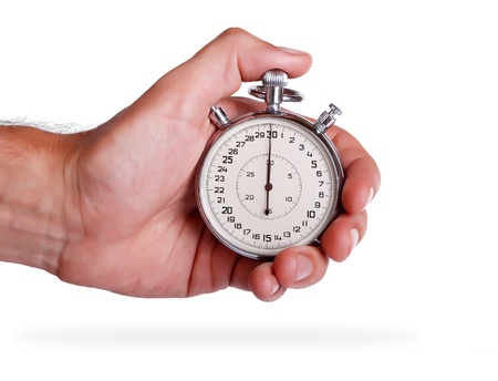 Big stopwatch in mens hand on white background