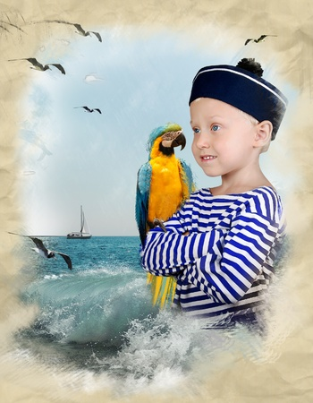 ship captain: Shipboy with yellow parrot on the drawing background of seascape