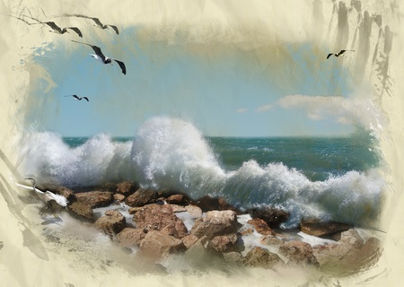 Abstract background of sea storm on deserted coast stylized like old drawing photo