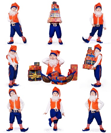 Nine images of little gnome dancing and prepearing christmas gifts on white background photo