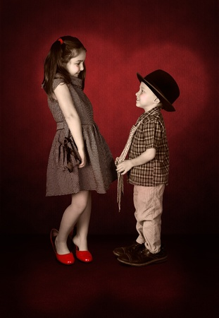 love confession: Nostalgia image of young lady and little gentleman confession in love