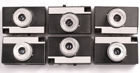 Six Vintage Lomography film camera on the white background photo