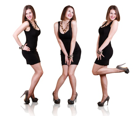 ladies bust: Posing beautiful girls in little black dress and fashion shoes. Expressive looks. Stock Photo
