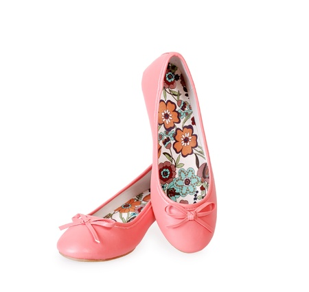 sneaker: Pairs of fashionable pink shoes without heel isolated on white  Ballet flats