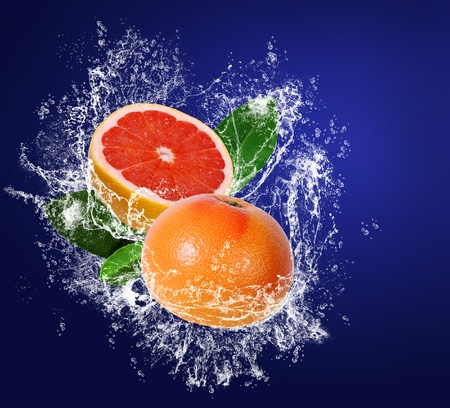 Grapefruits with leaves in water drops on the dark blue background Stock Photo - 12852835