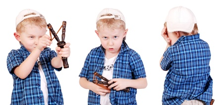 desperado: Three images of expressive emotions little madcap with slingshot Stock Photo