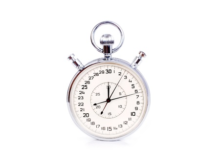 timescale: Big two buttons stopwatch isolated on white background Stock Photo