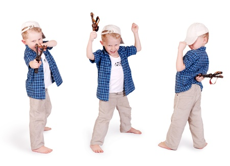 unruly: Three images of expressive emotional  little madcap boy  with slingshoot