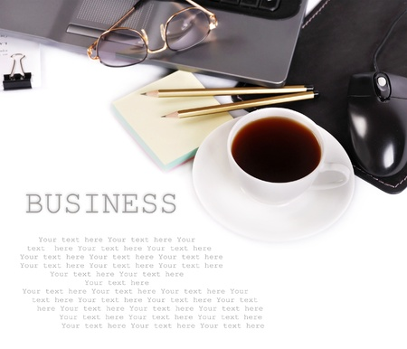 office desktop: Background with business elements Stock Photo