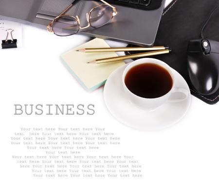 office break: Fondo con elementos de negocio Foto de archivo