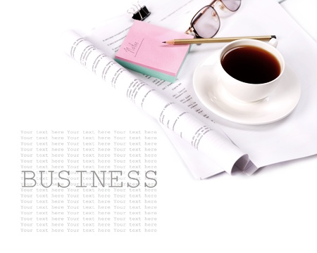 Still life with cup of coffee and business elements on white background