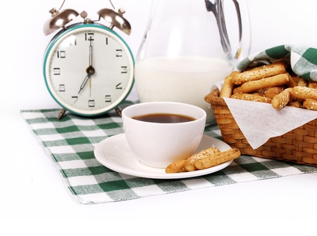 coffee hour: Still life with coffee, baking, milk and alarm clock Stock Photo