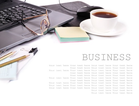 business desk: Background with cup of coffee and elements of workplace