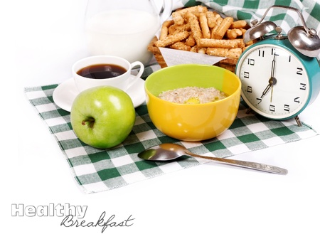 bread basket: Still life with ingredients of healthy nutrition for breakfast