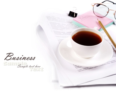 Concept image with business elements and cup of coffee photo