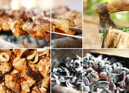 Collage from images on barbecue theme  photo