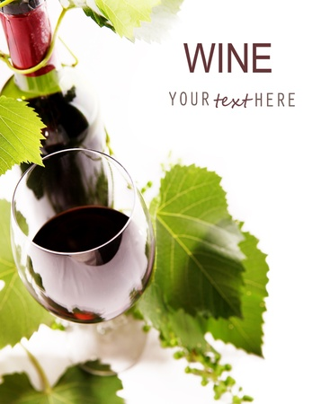 White background with goblet, bottle and vine 1 Stock Photo - 14004394
